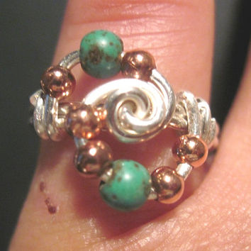Silver Tone and Copper In Orbit Ring - Color Choices