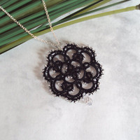 CIJ Sale Gothic Lace Pendant in Tatting - Rosetta