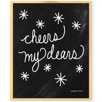 Cheers My Dears Print - Celebrate - Bar Cart - Bar Sign - Wedding Signage - Cheers - Vintage - Retro - Chalkboard