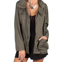 Lightweight Hooded Military Jacket - Olive /