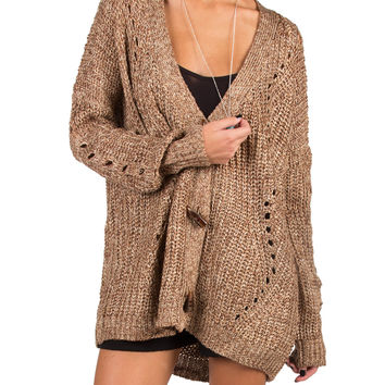 Shredded Back Knitted Cardigan - Brown - Brown /