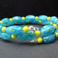 Neon Yellow and Blue Bracelet:  Bright Colorful Beaded Stacked Double Wrap Bracelet, Memory Wire Cuff