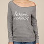 Hakuna Matata Eco Fleece Raw Edge Neck Sweatshirt in Grey