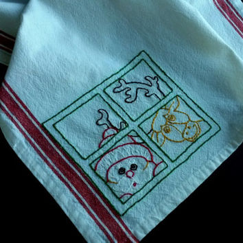 Embroidered Santa and reindeer, hand embroidered tea towel, embroidered santa, Christmas towel, hand embroidered dishtowel