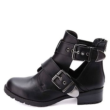 Double Belted Lug Sole Cut-Out Ankle Boots by Charlotte Russe - Black