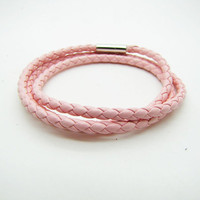3 Circles Pink Leather Bracelet Adjustable Cuff mens bracelet women bracelet unisex bracelet cuff bracelet 869S