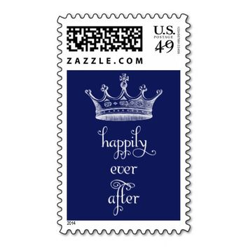 Happily Ever After Crown Royal Blue Wedding Stamp