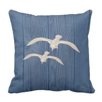 Seagull Cream Vintage Blue Wood Pillow
