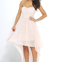 Light Pink Chiffon Stapless High-Low Dress with Rouche Front
