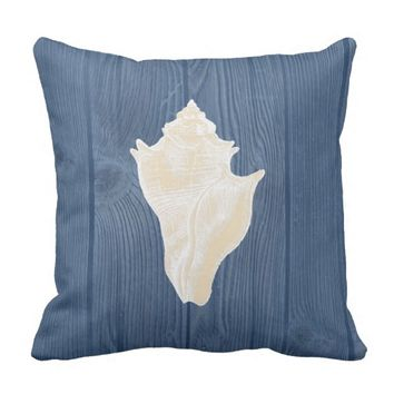 Seashell Cream Vintage Blue Wood Pillow