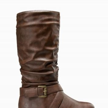 TWISTED RUCHED BUCKLE BOOTS