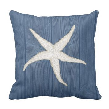 Starfish Cream Vintage Blue Wood Pillow