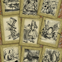 "Set of 9 Victorian Alice in Wonderland Digital Cards - 3-1/2"" x 5""/ea. on 8-1/2"" x 11"" - 3 pages - Download and Print - 09"