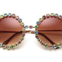 Jenny Pastel Rhinestone Round Sunglasses (Multi/Gold)