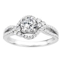 Promise Ring Set with Cubic Zirconia mounted in Sterling Silver (1.18 ct. twt.)
