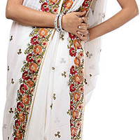 Ivory Wedding Sari with Parsi Embroidered Flowers