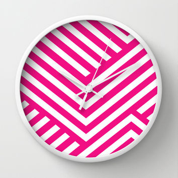 Pink and White Stripes Wall Clock by Liv B