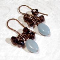 Cluster Earrings - Blue and Brown Amazonite &amp; Smoky Quartz Dangle Earrings - Vintage Look Antique Brass Handmade Jewelry