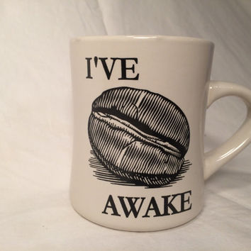 Diner style funny coffee bean stoneware mug, I've bean awake, play on words