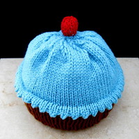 blue yummy cup cake hand knitted hat size 6-12 month