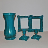 Vase, Picture Frame, Candle Holders, Bondi Blue,  Upcycled home decor, Distressed, Trendy, Decorative Set,