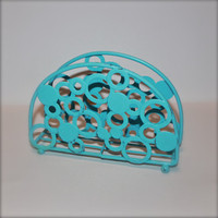 Napkin Holder/ Aqua /Bright Metal /Shabby Chic /Kitchen Decor /Table Accessory