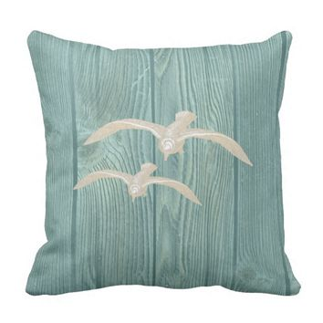 Seagull Cream Vintage Aqua Wood Pillow