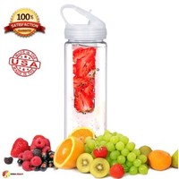 Infuser Water Bottle - Made In The USA Made With PET plastic 25oz -BPA Free and Lead Free - Clear - A Fun & Healthy Way To Enjoy Your Daily Water-Sports Flip Top-Great For Diet And Travel Just Grab And Go - Free 30 day Guarantee
