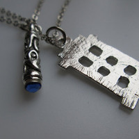 TARDIS and Sonic Screwdriver Pair of Necklaces Inspired by Doctor Who