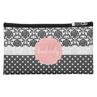 Elegant Black & White Damask Pink Girly Monogram