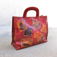 Vintage Red Leather Travel Themed Tote Shopper