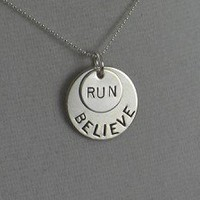 STERLING SILVER BELIEVE IN THE DISTANCE - Choose RUN , 5K, 10K, HALF MARATHON, MARATHON - Choose 3K, 5K, 10K, 13.1, 26.2 - Sterling Silver pendants on a 16 inch sterling silver ball chain