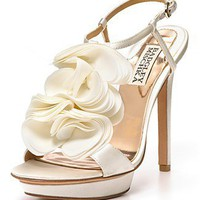 "Badgley Mischka ""Randee"" High Heel Ruffle Flower Sandals - Shoes - Bloomingdales.com"