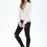 Contrast-Piped Henley Top