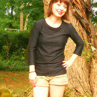 Simple Black Shirt with Three-Quarter Sleeves
