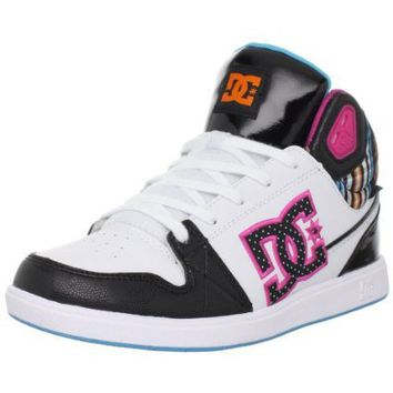 DC Women`s University Mid Sneaker,Black/White/Crazy Pink,8.5 M US