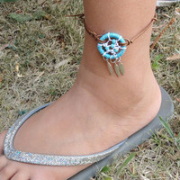 Turquoise Dream Catcher Leather Anklet Adjustable Bracelet and Feathers