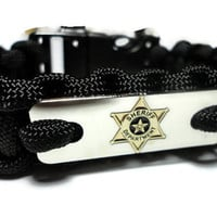Sheriff Department Deputy 550 Paracord Survival Bracelet with Stainless Steel Engraved Tag Military Grade Cord Handmade USA
