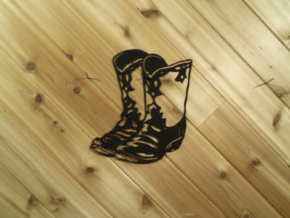 Wall Art Western Metal Cowboy Boots - Fancy By PrecisionCut