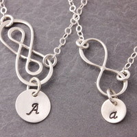 Mother Daughter Necklace, infinity necklace, eternity necklace, initial necklace, personalized, pair necklace, matching necklace, N10