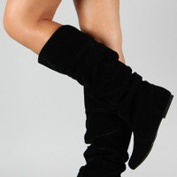 Qupid Neo-144 Velvet Slouchy Knee High Boot