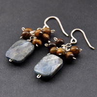 CIJ Tiger Eye Earrings, Blue Kyanite Gemstones Earring, Golden Brown Tigers Cluster, Denim Blue Dangle, Silver Jewelry, Christmas in July