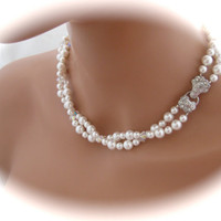 Wedding Jewelry Pearl Necklace Swarovski Crystal Bridal Necklace Rhinestone Bridal Jewelry