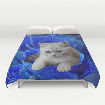 Cat and Blue Rose Duvet Cover by Erika Kaisersot