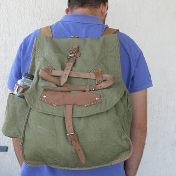 Large Canvas Rucksack with leather straps, Vintage Military Rucksack, Green Canvas Backpack, Never Used, Old stock new