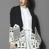 Winter Town Knitted Cardigan Black S/M