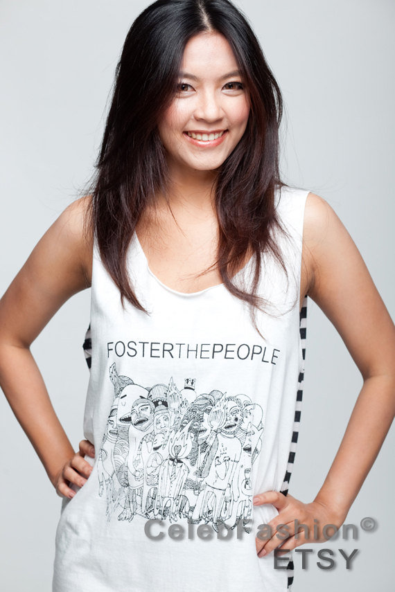Foster the People T Shirt Black Stripe Band Women White T-Shirt Vest Tank Top Singlet Sleeveless Size M L