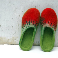 Hand Felted Slippers Summer Berries red green READY TO SHIP size US8