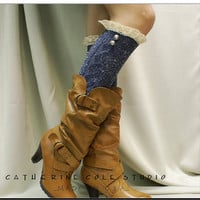 Bavarian Lace BOOT SOCKS - Tweed denim knit knee boot socks  2 ornate buttons Catherine Cole Studio / made in usa