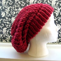 Aja Knit Slouchy Beret Cap - Berry Pink